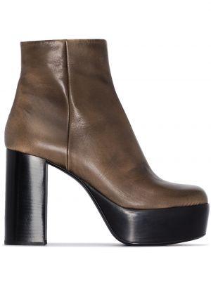 Brązowy buty na platformie na platformie z prawdziwej skóry Miu Miu