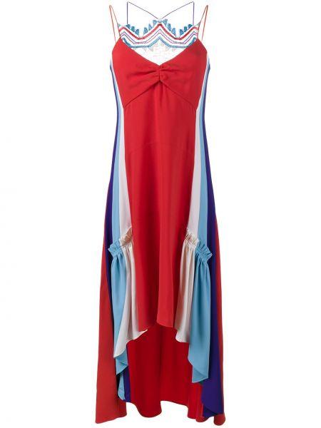 Асимметричное красное платье из вискозы Peter Pilotto