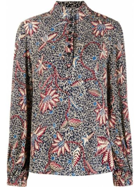 С рукавами синяя блузка с длинным рукавом из вискозы Ba&sh