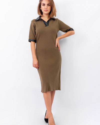 Трикотажное платье - зеленое Dilvin