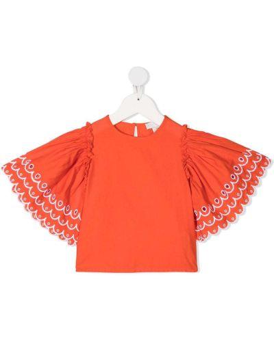 Хлопковая блузка с вырезом круглая Stella Mccartney Kids