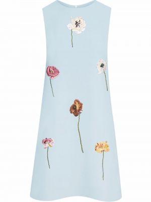 Шерстяное платье - синее Oscar De La Renta
