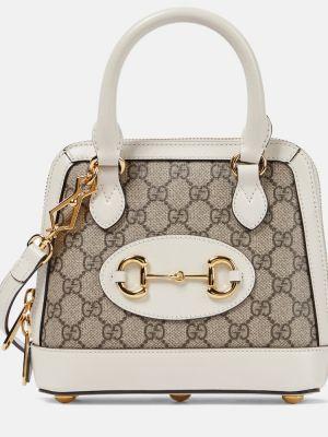 Beżowy skórzany torba na ramię Gucci