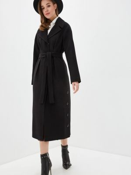 Черное пальто с капюшоном Giulia Rosetti