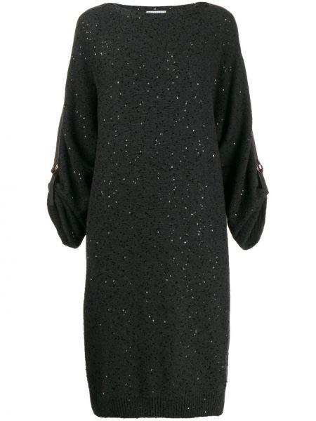 Шелковое платье макси с пайетками свободного кроя Brunello Cucinelli