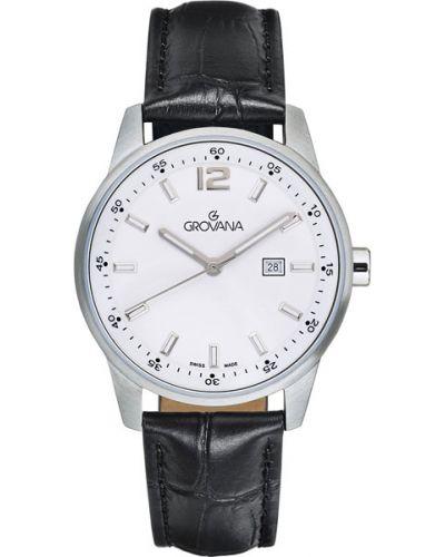 Часы на кожаном ремешке кварцевые водонепроницаемые Grovana