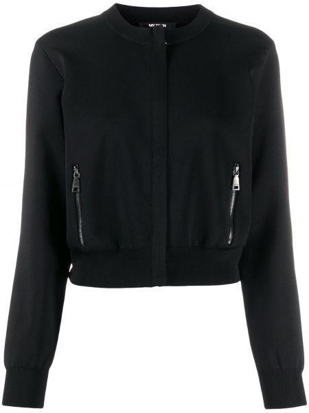 Черная длинная куртка круглая с круглым вырезом с карманами Twin-set