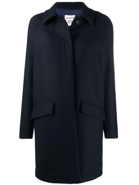 Синее пальто классическое с капюшоном с воротником Semicouture