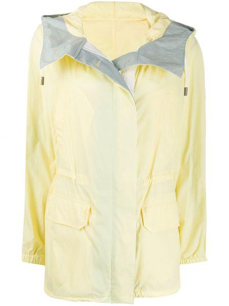 Желтое длинное пальто с капюшоном с воротником Yves Salomon Army