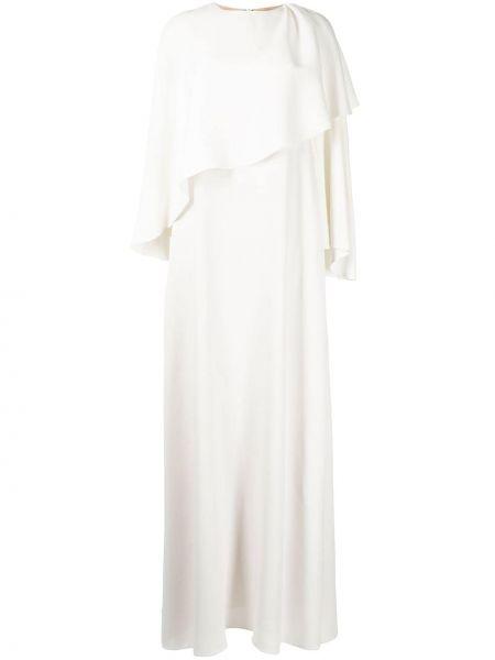 Белое платье макси с вырезом на пуговицах Oscar De La Renta