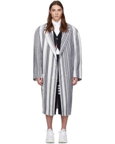Белое длинное пальто с воротником на пуговицах Thom Browne
