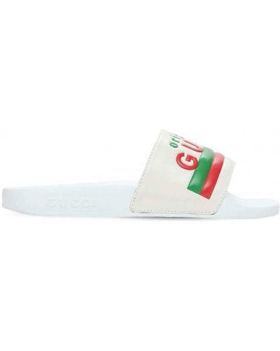 Biały skórzany sandały wytłoczony Gucci