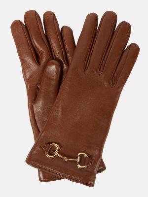 Кожаные перчатки - желтые Gucci
