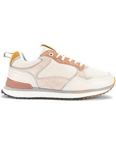 Замшевые бежевые кроссовки на шнурках Hoff