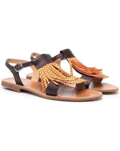 Brązowe sandały skorzane płaska podeszwa Gallucci Kids