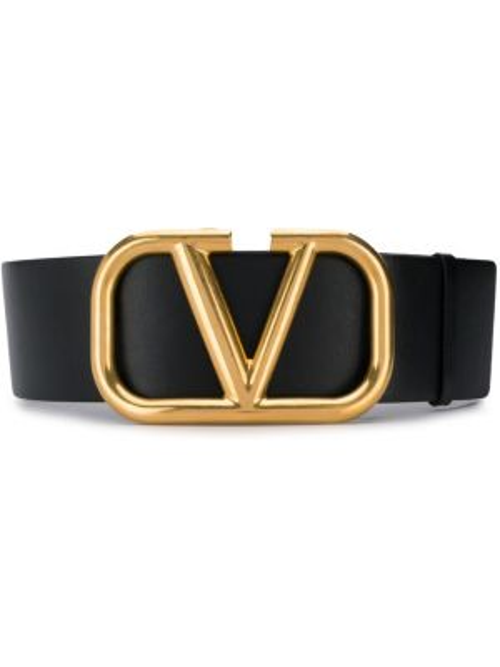 Czarny pasek skórzany z paskiem Valentino