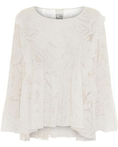 Biała bluzka elegancka z haftem Project Aj117