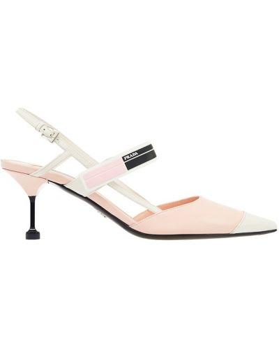 Кожаные туфли на каблуке на широкую ногу Prada