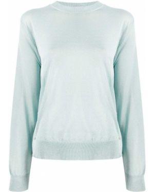 Синий свитер в рубчик металлический с манжетами Mrz