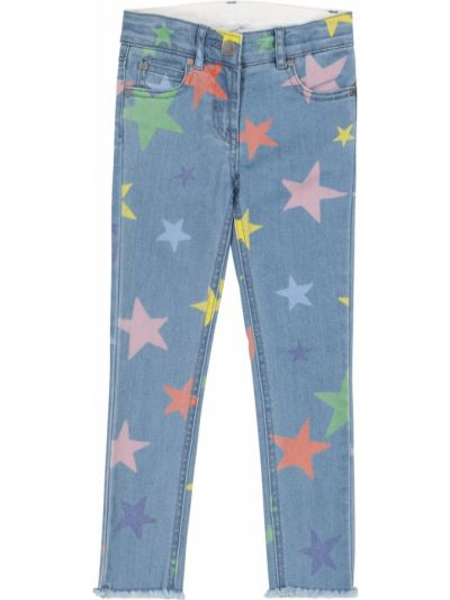 Хлопковые синие джинсы стрейч Stella Mccartney Kids