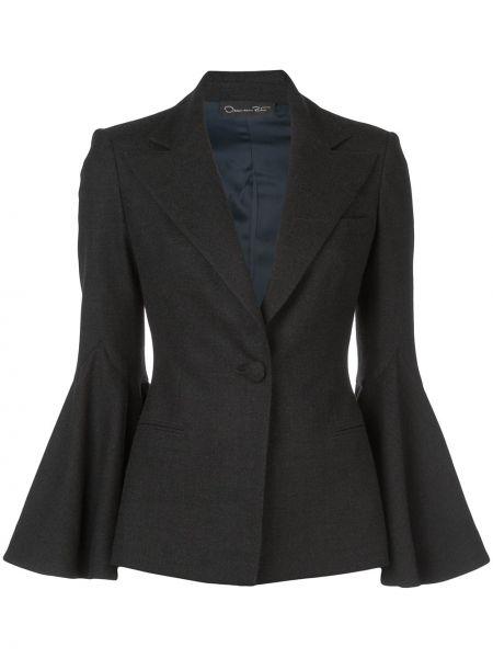Серый пиджак с карманами на пуговицах Oscar De La Renta