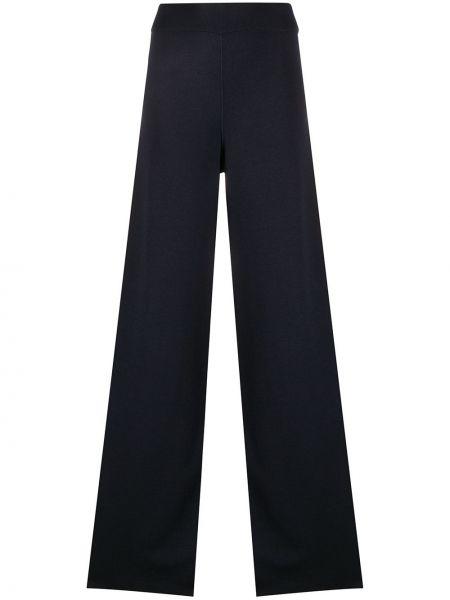 Prążkowane niebieskie spodnie z wysokim stanem Maison Ullens