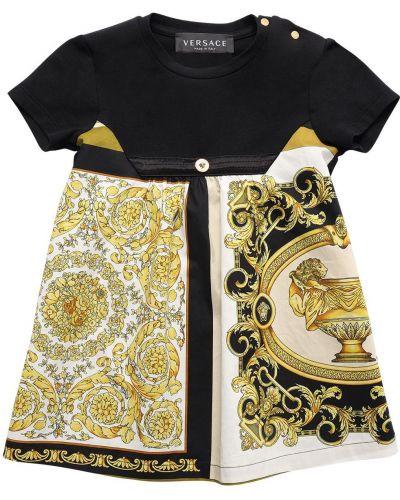 Satynowa czarna sukienka z printem Versace