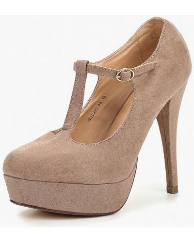 Туфли на каблуке осенние велюровые Tulipano