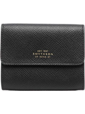 Czarny portfel skórzany Smythson