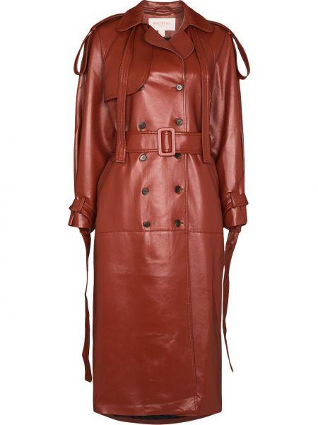 Коричневое кожаное пальто Matériel