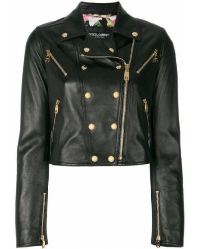 Длинная куртка байкерская кожаная Dolce & Gabbana