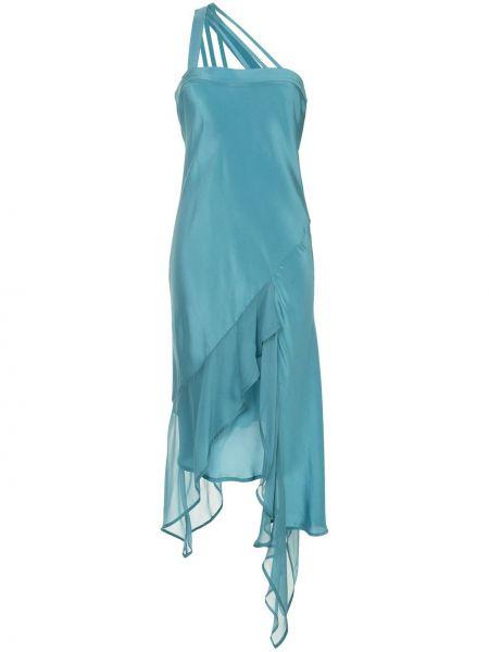 Шелковое платье миди - синее Taylor
