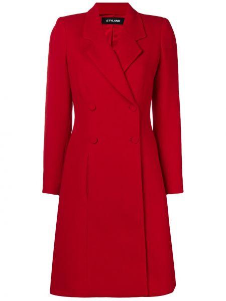 Красное шерстяное длинное пальто двубортное Styland