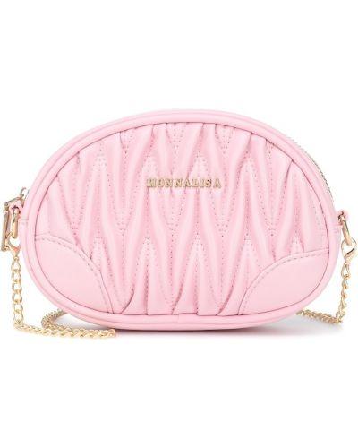 Skórzany różowy pikowana torba Monnalisa