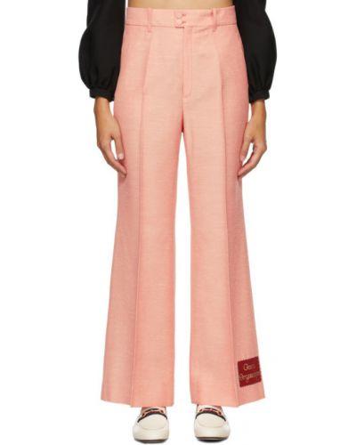 Biały spodni spodnie z mankietami z kieszeniami Gucci