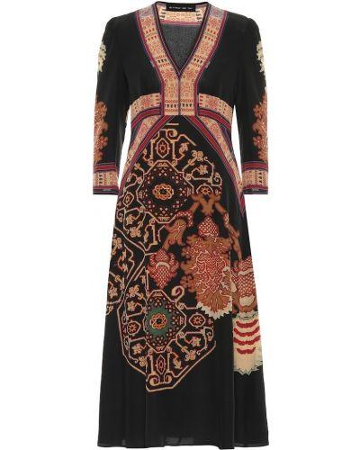 Деловое черное платье миди с капюшоном Etro
