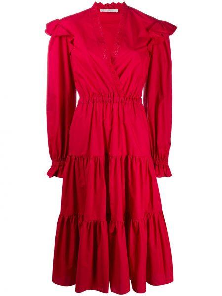 Расклешенное приталенное платье миди с V-образным вырезом с оборками Philosophy Di Lorenzo Serafini