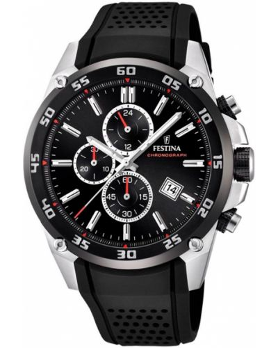 Czarny zegarek srebrny Festina