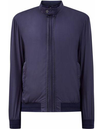 Синяя кожаная куртка на молнии с декоративной отделкой свободного кроя Cudgi