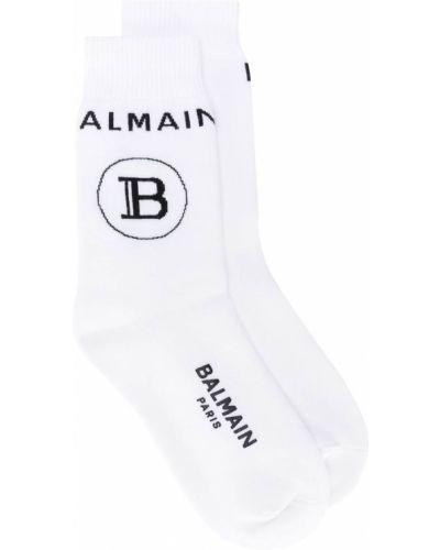 Хлопковые белые носки в рубчик Balmain