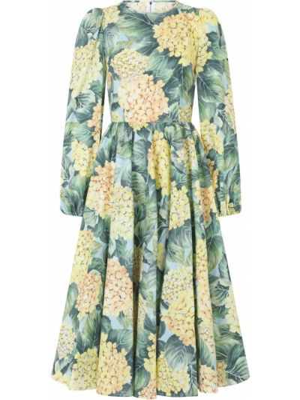 Хлопковое платье миди - зеленое Dolce & Gabbana