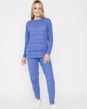 Облегающий синий брючный костюм Прованс