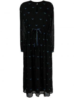 Черное платье с вышивкой на пуговицах Lala Berlin