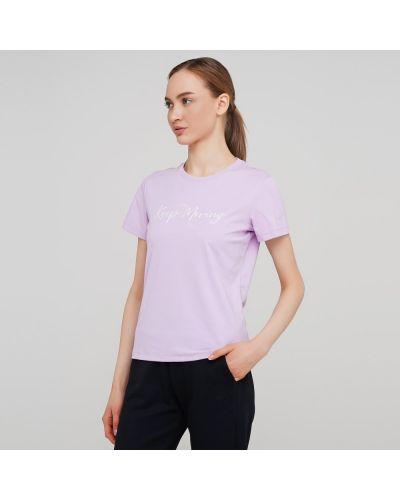 Фиолетовая прямая футболка с надписью Anta