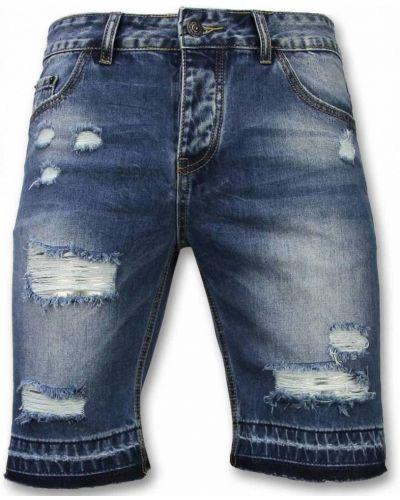 Niebieskie szorty jeansowe materiałowe na co dzień Enos