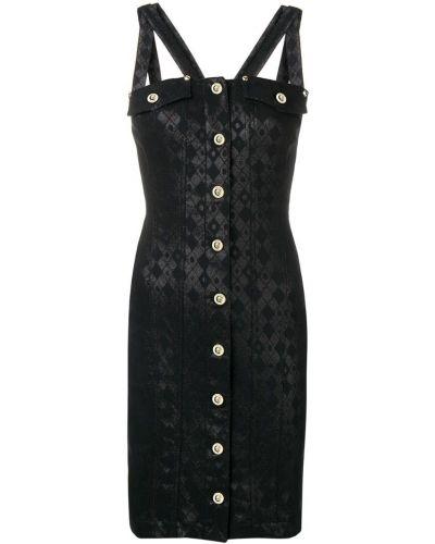 Черное приталенное джинсовое платье на пуговицах Versace Jeans