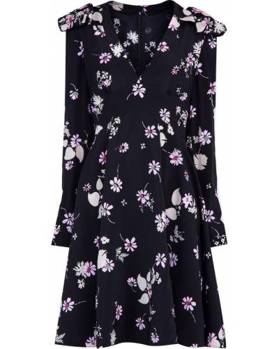 Платье с поясом с цветочным принтом с V-образным вырезом Valentino