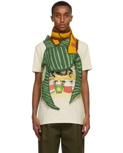 Зеленый кашемировый шарф с заплатками Loewe