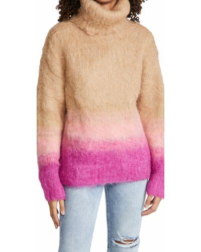 Розовый шерстяной длинный свитер с длинными рукавами Tanya Taylor