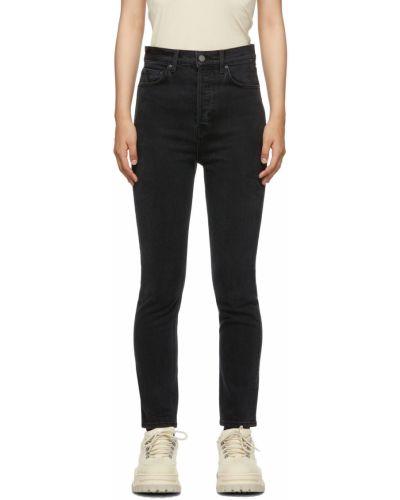 Czarne mom jeans z paskiem Grlfrnd